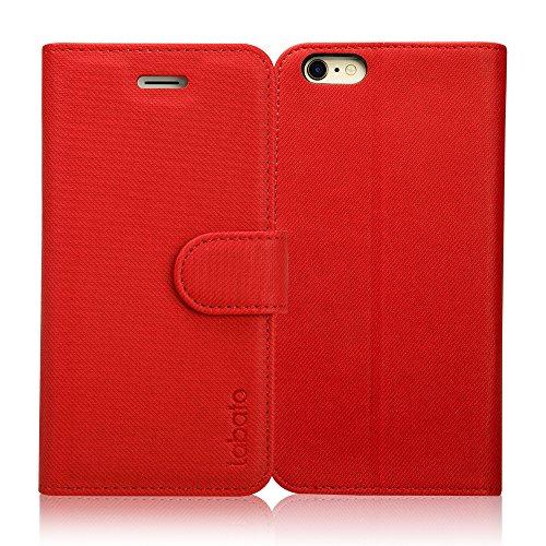 Labato iphone6s ケース iphone6 ケース 手帳型 アイフォン6s アイフォン6 ケース 軽量 手帳 人気 PUレザー カード収納 スタンド マグネット式 スマホケース(レッド lbt-I6S-08D30)
