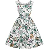 007XIXI Prom Dresses with Pockets and Sleeves,Women Vintage Bodycon Long Sleeve O Neck Evening Printing Party Prom Swing Dress