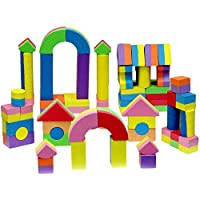 Click n' Play Nontoxic Foam Blocks, Building Block and Stacking Block, Amazing As Bath Toys, 60 Count with Carry Tote 0143