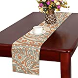 LKCDNG テーブルランナー 黄色 和風の模様 クロス 食卓カバー 麻綿製 欧米 おしゃれ 16 Inch X 72 Inch (40cm X 182cm) キッチン ダイニング ホーム デコレーション モダン リビング 洗える