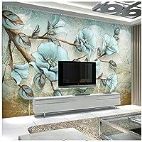 山笑の美 壁紙壁画カスタムリビングルームの寝室の花豊かな豊かな花と鳥抽象的な壁画の背景-310X200CM