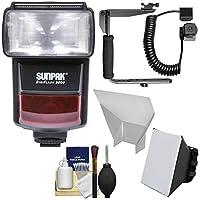 Sunpak DigiFlash 3000iTTL電子フラッシュユニットwithブラケット&コード+ソフトボックス+ Bounce Reflector +クリーニングキットNikonデジタルSLRカメラ