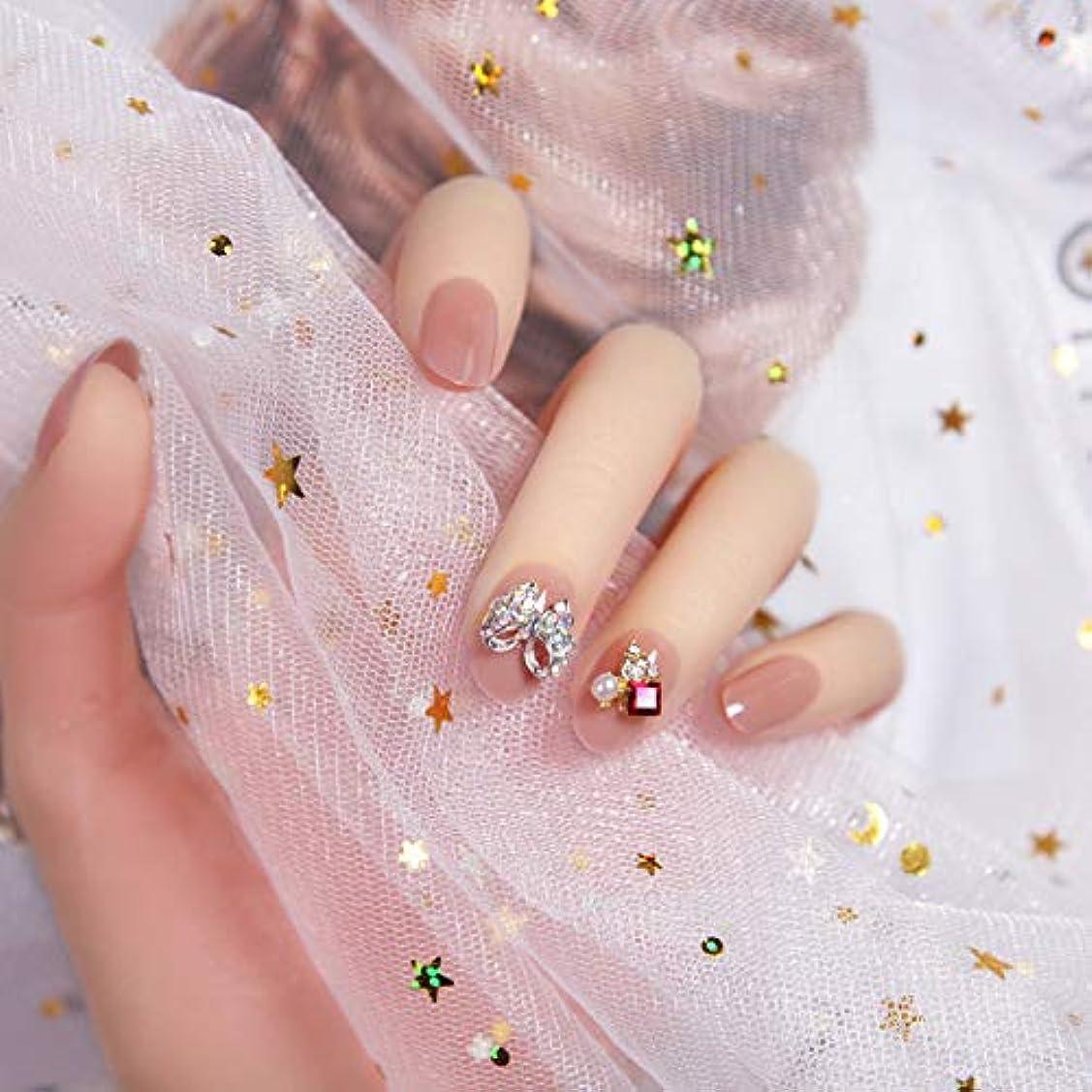 雄弁家オーブン招待ピンク 3D ネイルチップ 人造ダイヤモンド 24枚入 原宿 和風 夢幻 和装 手作りネイルチップ 結婚式ネイルチップ