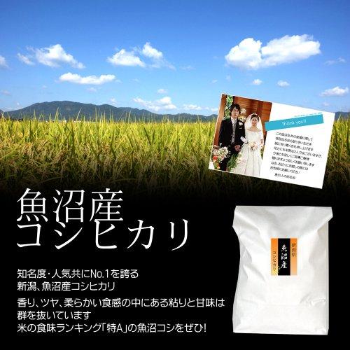 【結婚式の引出物に】オリジナルメッセージカード付き!魚沼産コシヒカリ 白米(精米) 10kg