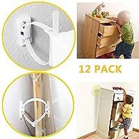 赤ちゃん用 滑り止め家具ストラップ (12個パック) 傾き防止 家具アンカーキット 調節可能な子供安全ストラップ 耐震性 抜け防止 本棚 キャビネット ドレッサー