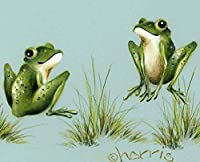 (高画質絵画、装飾絵画、スターポスター)4月のシャワー - Peggy harrisによる蛙(アートプリント)