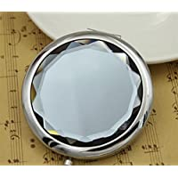 HuaQingPiJu-JP ラウンド愛らしいパターン小さなガラスミラーアートと工芸品のためのミニサークルデコレーション化粧品アクセサリーグレー