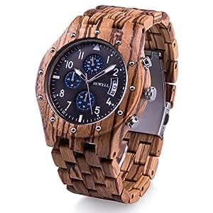 BEWELL 腕時計 木製 メンズ 日付 クロノグラフ機能 夜光 男性用 クォーツ アナログ腕時計 誕生日プレゼント 贈り物 (ゼブラウッド)