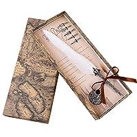 MUYOO 万年筆 羽毛ペン 署名ペン 羽飾り 金属製ペン先5枚 ペン立て付き 高級感 書道 プレゼント Y-14 (ホワイト)