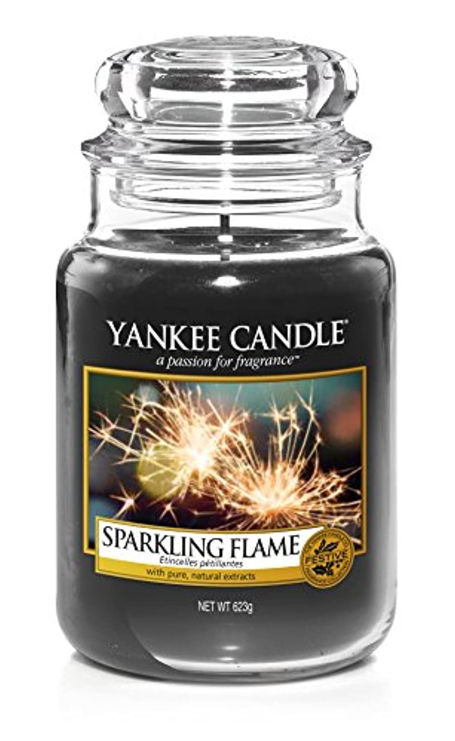 アミューズ会議切手Yankee Candle Large Jar Candle 22 oz Sparkling Flame