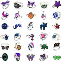 Jiali Q 10pcs Mixed Mood Ring Change Color Ring Adjustable Size Temperature Finger Ring