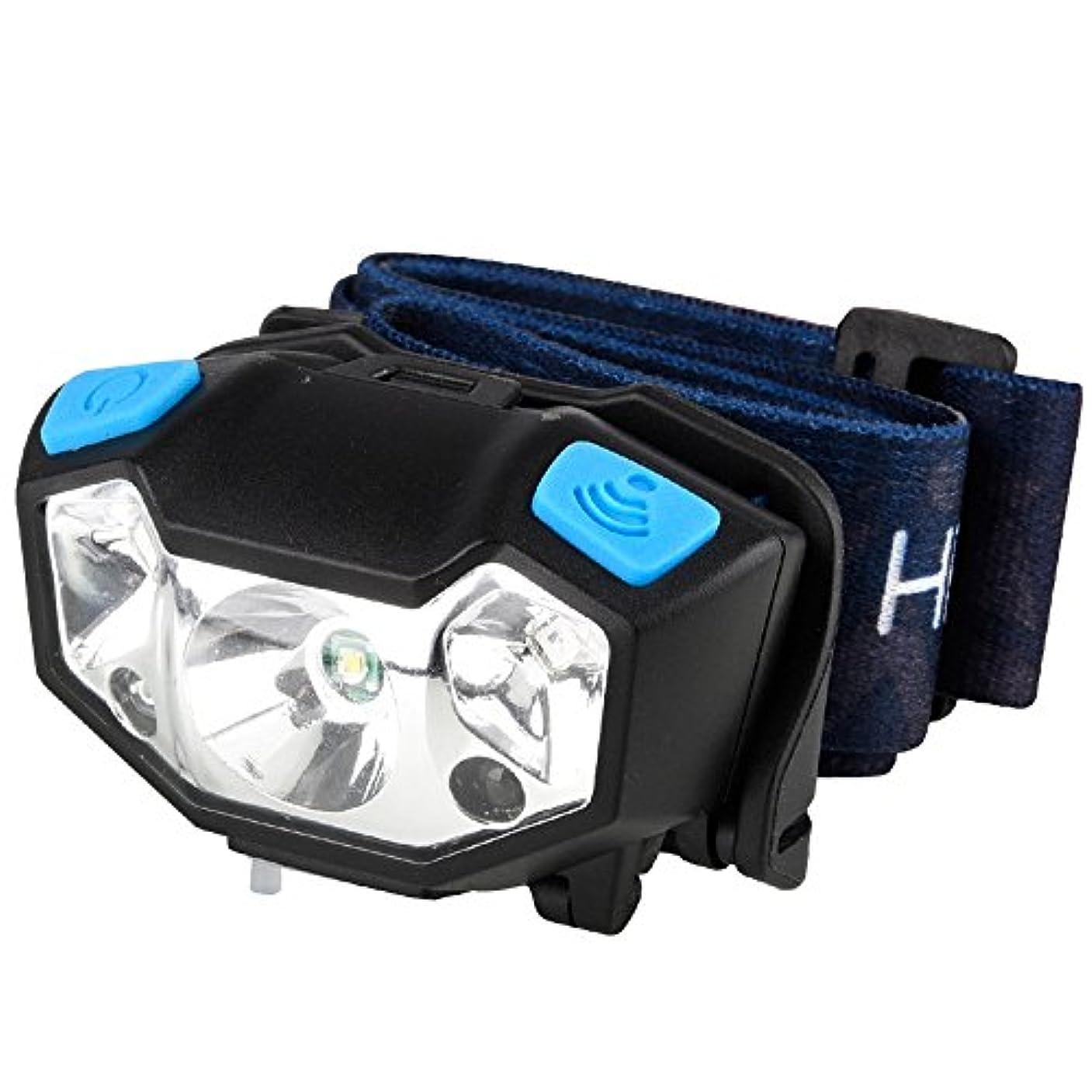 裏切る溶融良性MUTANG アウトドアLED誘導ヘッドライトキャンプ乗馬ウォーキング釣り範囲ヘッドマウント懐中電灯ライト調節可能なUSBスマートファーストチャージヘッドランプ