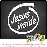 車の中のイエス Jesus Inside car 10cm x 10cm 15色 - ネオン+クロム! ステッカービニールオートバイ