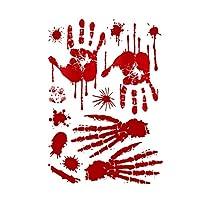 Goolsky ハロウィーン パーティー 小道具 装飾 シミュレーション 血ましい 足跡 手形 床窓 ドア ステッカー 恐ろしい 面白い ホラー雰囲気