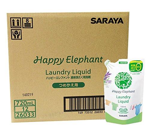 【ケース販売】 ハッピーエレファント 液体 洗たく用洗剤 詰替用 720ml×12個入