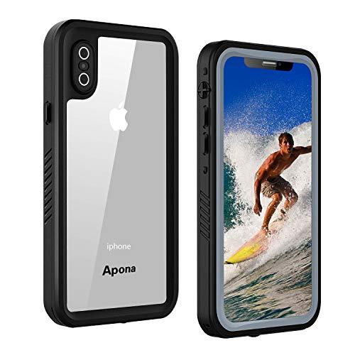 Apona iPhone X 防水ケース IP68規格 完全防水 無線充電サポート 耐衝撃 衝撃吸収 防水ケース 操作便利 脱着簡単 保護タッチパネルスクリーン付き (ブラック)