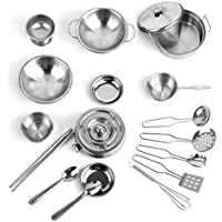 Kitchen Cookware Toy, PINCHUANGHUI 18Pcs Stainless Steel Kids House Kitchen Toy Cooking Cookware Children Pretend Play Kitchen Playset - Silver
