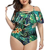 Daci Plus Size Swimsuit for Women One Piece Ruched Flounce Lace Up Bathing Suit