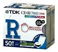 TDK データ用CD-R 48X ホワイトワイドプリンタブル キューブケース仕様 50枚パック CD-R80PWDX50CS