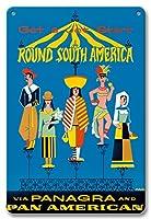 22cm x 30cmヴィンテージハワイアンティンサイン - 南アメリカ周遊に飛び出せ - パナグラ航空およびパンアメリカン航空ご利用 - パン・アメリカン・グレース・エアウェイズ - ビンテージな航空会社のポスター によって作成された P. ジャリアー 1970
