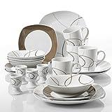 Best ホワイトDinnerwares - Nikita ' veweet 20-pieceアイボリーホワイト磁器ブラウンLines Dinnerware combi-set withエッグカップ/マグカップ/ボウル/デザートプレート/Dinner Plates Review