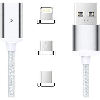 TOMSMOO 第四世代 1M ナイロンメッシュ編 マグネット式 充電ケーブル 高耐久 データ通信可能 Android/Type-C/USB-C対応(シルバー 1M)