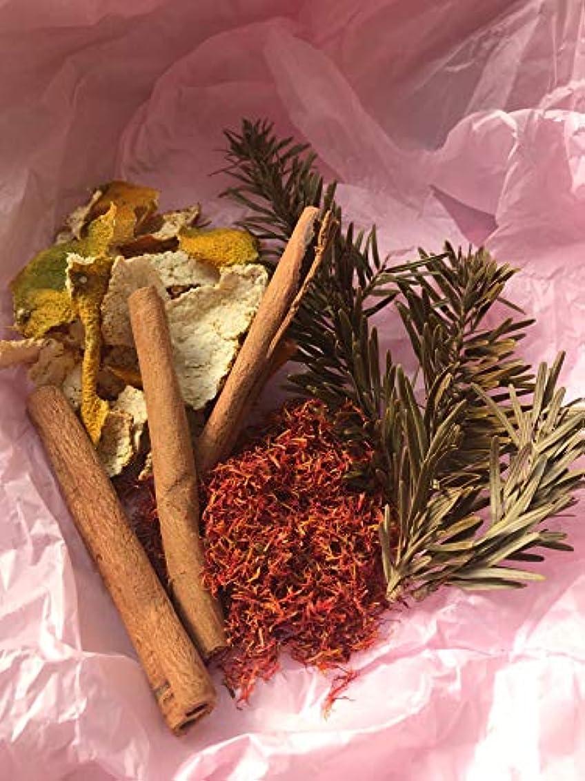数値クランシー最終的にクリスマス もみの木 バスソルト パック もみ シナモン みかん 紅花 ヒマラヤ岩塩 5回分