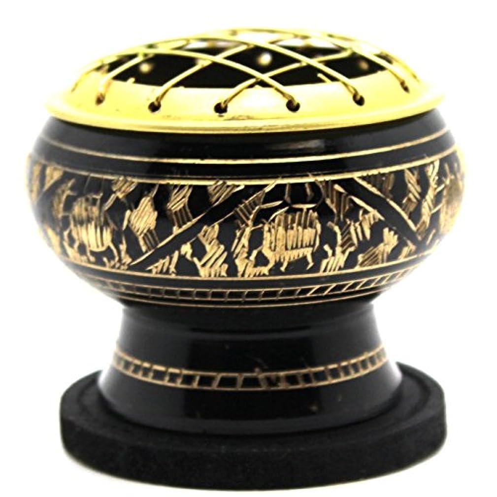 線オーラルプロジェクターGovinda - Small Decorated Brass Charcoal Screen Incense Burner with Wooden Coaster