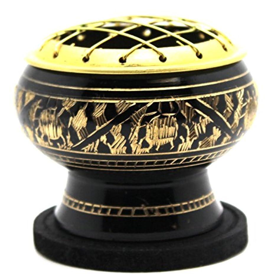 肉気怠い気づくGovinda - Small Decorated Brass Charcoal Screen Incense Burner with Wooden Coaster