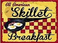 なまけ者雑貨屋 Skillet Breakfast ガレージ サインボード ビンテージ カフェ レストラン バイカー インテリア 看板