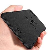 Huawei Honor 10 ケース, CHENXI 鹿の頭の模様 電話ケース マッチングデニムキャンバスPC + PU + TPU 二重構造強力 耐震ケース 衝撃防止 滑り止 全面保護 カバー ために Huawei Honor 10 - 黒い褐色