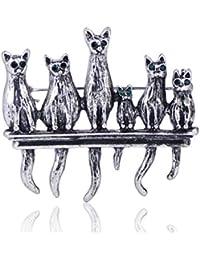 MECHOSEN かわいい レディース ブローチ 猫 安全ピン 合金 水晶 アンティーク動物 ゴールド シルバー アニマル 美しい ピンバッジ ラベルピン