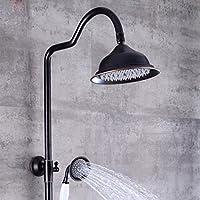 LyMei バスルームシャワーシステム レインミキサーシャワーコンボセット 調節可能なレインフォールシャワーヘッドと手持ちシャワーのブラック