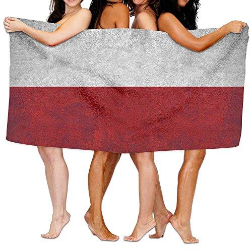 ビーチバスタオル バスタオル ポーランドの国旗 ビーチ用 海水浴 旅行用タオル 多用途 おしゃれ One Size White