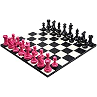 Purling Of London - Large Luxury Bold Chess Set in Hot Pink & Shadow Black - 4 Inch Weighted