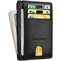 Minimalist Slim Front Pocket Wallets for Men or Women with RFID Blocking & Genuine Leather