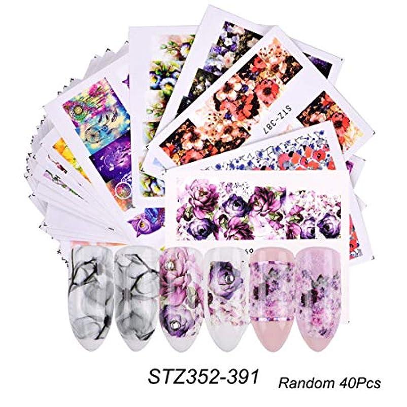 ギャングスター情熱寝室(STZ352-391) 40枚セット 3Dカラフルな花 ネイルシールウォーターネイルシール爪に貼るだけネイルデコレーション