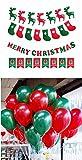 【ELEEJE】 クリスマス デコレーション ガーランド 4種 & バルーン 風船 & 空気入れ オリジナル セット パーティー 飾り付け インテリア (赤緑 100個)