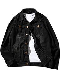 CEEN メンズ ジャケット デニム コート シンプル 長袖 ブラック おしゃれ 黒 無地 テーラード ゆったり 秋 ファション トップス 大きいサイズ
