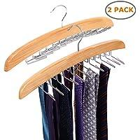 (2-pack) - Ohuhu Wooden Tie Hanger Rotating Twirl 24 Ties Organiser Rack Hanger Holder Hook, 2 Pack