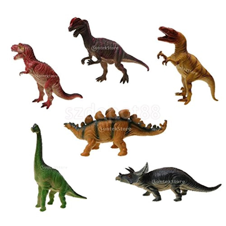 パックの6 large-sized Assorted Dinosaurモデルfor Kidsノベルティおもちゃギフト