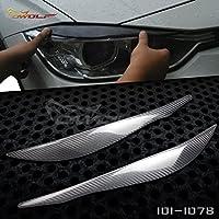 [ OWOLF ]  車 フォグランプ アイブロー ヘッドライト カバー アイライン 「  BMW F30 320i 328i 335i 2012ー2014 」に適合 純正カーボン(carbon fiber) 炭素繊維製