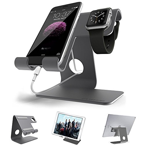 Apple watchスタンド iphone充電スタンドスタンドswitch スマホ スタンド-zve グレースタンド (2017年新しい色) スマートフォン充電クレードル アップルウォッチ 両用 充電デスクトップスタンドiPhone/iPad/Apple/iwatch /Galaxy /Nexus/Kindle対応24月保証 (grey)
