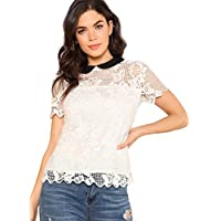 WDIRA Women's Contrast Collar Keyhole Back Cut Out Lace Casual Top Blouse White S
