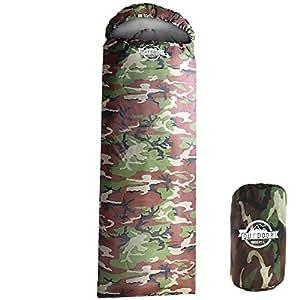 WIBERTA(ウィベルタ) 寝袋 シュラフ コンパクト 夏用 スリーピングバッグ 軽量 封筒型 丸洗い可能 収納袋付き 最低使用温度5度 カモフラージュ
