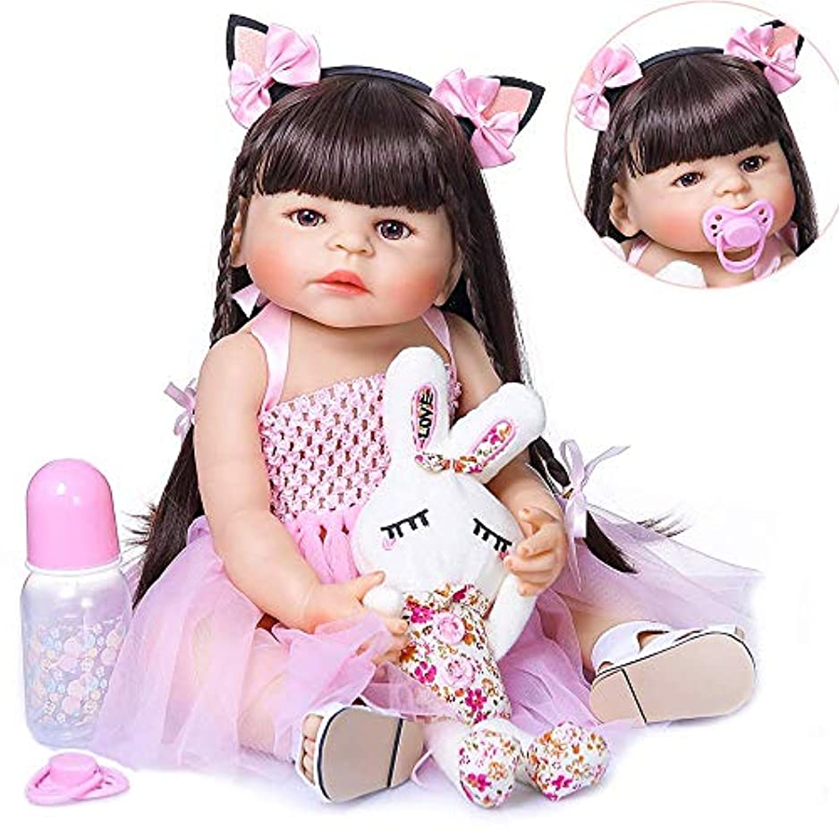 観察逃げるブラウンRebirth Doll, Kids Toys Reborn 23inch 57cm Full Body Silicone Reborn Bebe Doll Toddler Girl Doll Soft Real Touch Flexible with Anatomically Correct