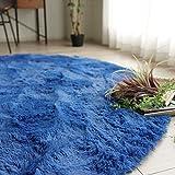 エクセレントムーティ-Ⅱ アイディアルブルーシリーズ マイクロファイバー シャギー ラグ コバルト ブルー 直径95cm 円形 丸洗い可能 折り畳み可能 ホットカーペットカバー対応 滑り止め付き