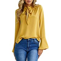 Women Flare Sleeve V Neck Blouse Casual Tops