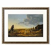 アルベルト・カイプ Aelbert Cuyp 「Flock of sheep in a pasture. About 1645-55」 額装アート作品