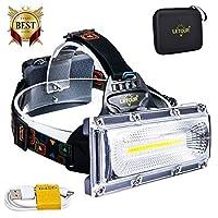 LETOUR ヘッドライト USB充電式、ハイパワーCOB 1800ルーメン LEDヘッドランプ 防水、2照明モード+レッド/ブルー・ストローブ、120°の広角のイルミネーション、ギフト収納バッグ